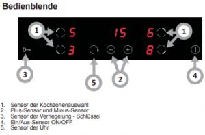 Grafik der Bedienblende vom Induktionskochfeld im Ferienhaus Lea